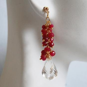 Ruby And Crystal Quartz Cluster dangle Drop Earrings -July Birthstone Earrings- Wedding Jewelry -Bridal Jewelry